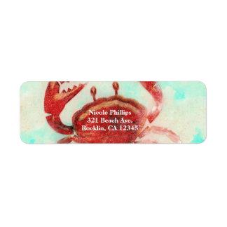 Red Crab Elegant Beach Party Engagement Invitation Return Address Label