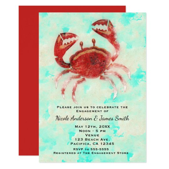 Red Crab Elegant Beach Party Engagement Shower Card