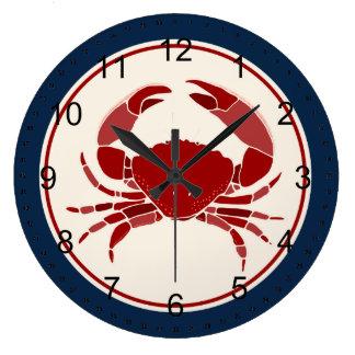 Red Crab Large Clock