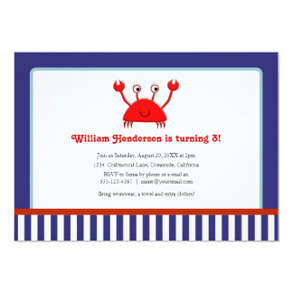 Red Crab Nautical Birthday Invitations