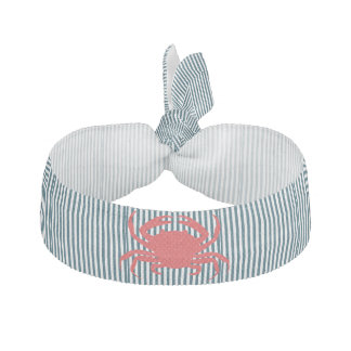 Red Crab on Nautical Stripes Hair Tie