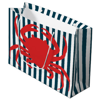 Red Crab on Nautical Stripes Large Gift Bag