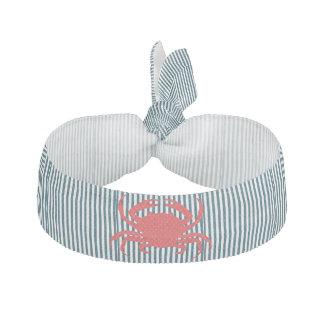 Red Crab on Nautical Stripes Ribbon Hair Tie