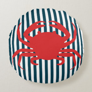 Red Crab on Nautical Stripes Round Pillow