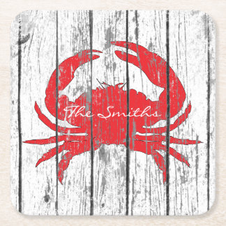 Red Crab Personalize Square Paper Coaster