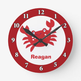 Red Crab Personalized Wall Clock (Red Border)