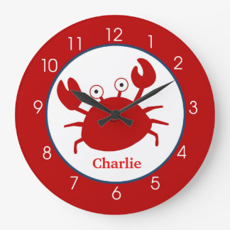 Red Crab Under the Sea Clock - Add a Name