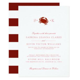 Red Crab | White Wedding Invitation