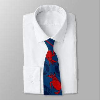 Red Crabs Navy Blue Lobsters Tie