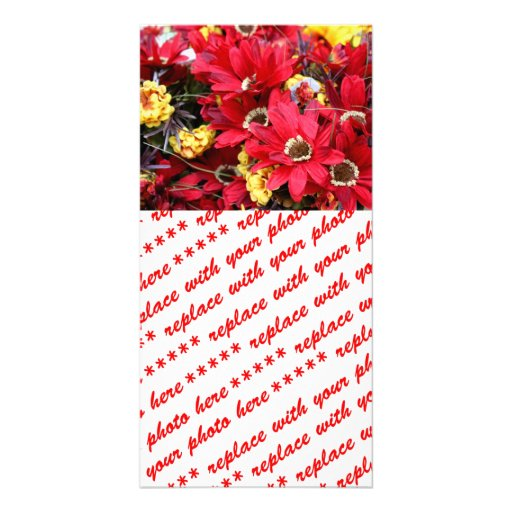 Red Craft Flowers Photo Cards