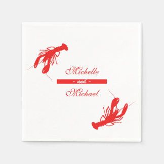 Red Crawfish Lobster Cocktail Napkins Paper Napkins