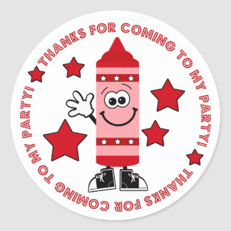 Red Crayon Birthday Party Thank You Sticker