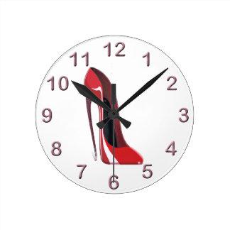 Red Crazy Heel Stiletto Shoe Art Round Clock