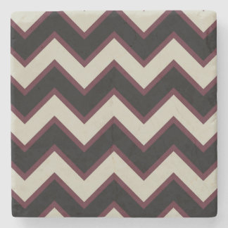 Red Cream Black Chevron Stone Coaster
