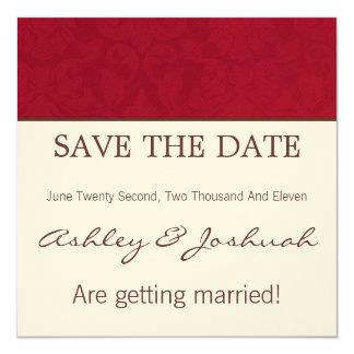 Red & Cream Design Save The Date Invites
