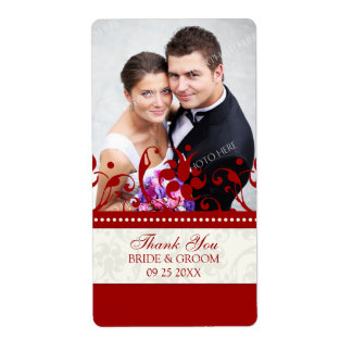 Red Cream Floral Photo Wedding Labels