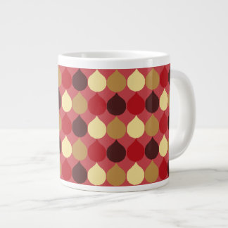 Red Cream Geometric Ikat Teardrop Circles Pattern Large Coffee Mug