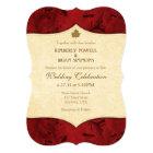 Red Cream Leaf Vintage Wedding Invitation