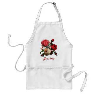 Red & Cream  Rose Customizable Name Standard Apron