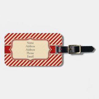 Red & Crème Monogram Luggage Tag