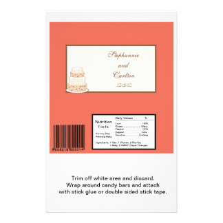 Red/Creme Wedding Cake Large Candy Bar Wrapper Flyers