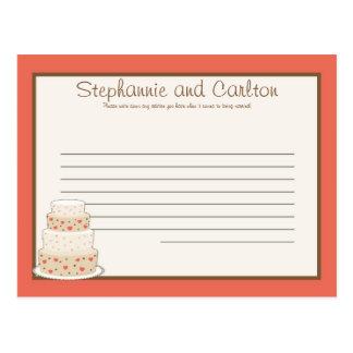 Red/Creme Wedding Cake Writable Advice Card Postcard