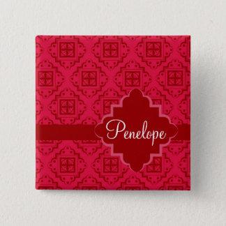 Red Crimson Arabesque Moroccan Graphic Design 2 Inch Square Button