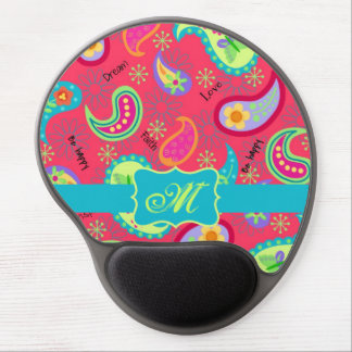 Red Crimson Turquoise Modern Paisley Monogram Gel Mouse Pad