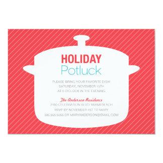 "RED CROCK POT | HOLIDAY POTLUCK INVITATIONS 5"" X 7"" INVITATION CARD"