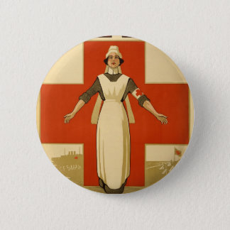 Red Cross Field Nurse Poster Reading HELP 2 Inch Round Button