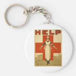 Red Cross Field Nurse Poster Reading HELP Basic Round Button Keychain