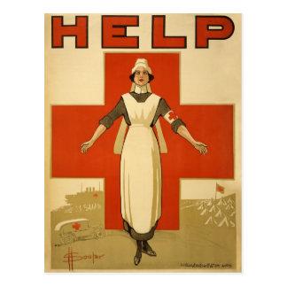 Red Cross Field Nurse Poster Reading HELP Postcard