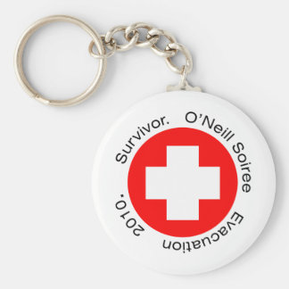 RED CROSS HERE BASIC ROUND BUTTON KEYCHAIN