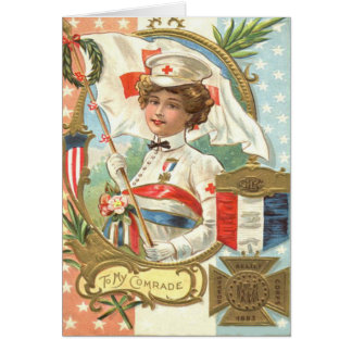 Red Cross Nurse Flowers Wreath Card