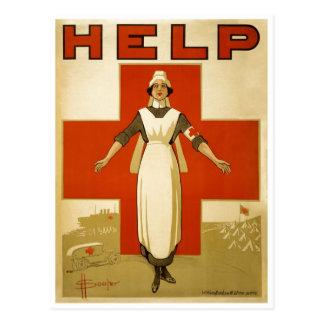 Red Cross Nurse Help Advertisement World War 2 Postcard