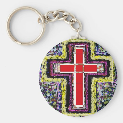 Red Cross on mixed background. Keychains