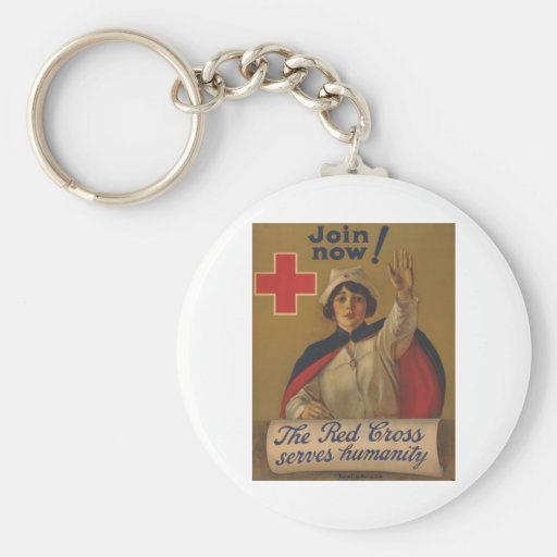 Red Cross Poster - Join Now! Key Chain
