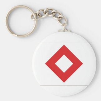 Red Cross Red Crystal Flag Basic Round Button Keychain