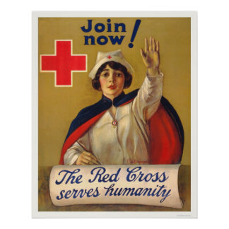 Red Cross serves humanity - Join now Posters