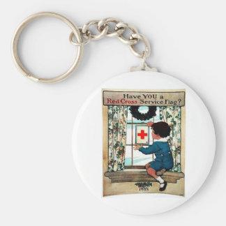 Red Cross Serviceflag Basic Round Button Keychain
