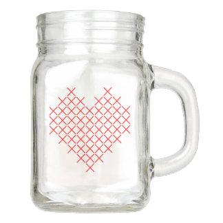 Red cross stitch heart mason jar