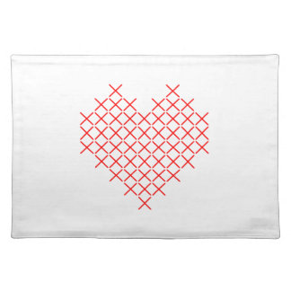 Red cross stitch heart placemat
