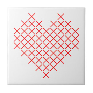 Red cross stitch heart tile