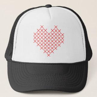 Red cross stitch heart trucker hat