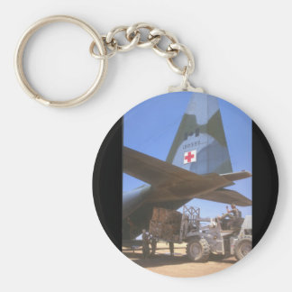 Red Cross supplies being_Military Aircraft Basic Round Button Keychain