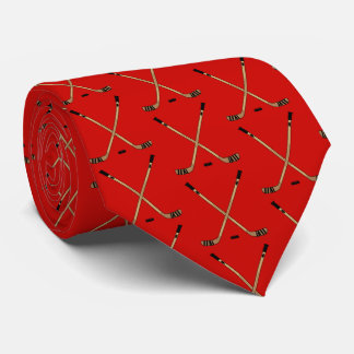 Red Crossed Hockey Sticks and Puck Tie