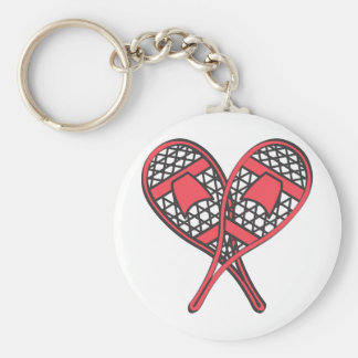 Red Crossed Snowshoes Basic Round Button Keychain