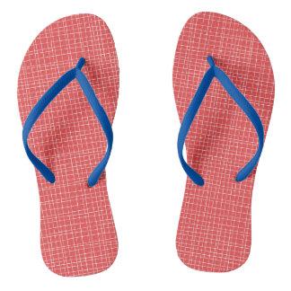 Red Crosshatch Flip Flops