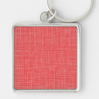 Red Crosshatch Silver-Colored Square Keychain