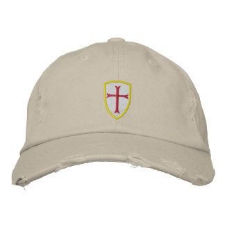 Red Crusader Cross Shield Cap Embroidered Baseball Cap